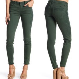 Miss Me Hunter Green Skinny Embroidered Jeans 27